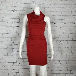 Helmut Lang Red Wool Sleeveless Cowl Neck Ruched Mini Dress